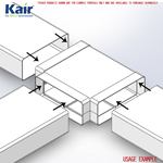 Kair Equal T-Piece Adaptor 204mm x 60mm for Rectangular Plastic Ducting