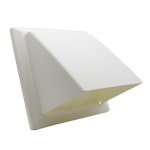 COWLED WALL OUTLET WITH DAMPER - 150MM - WHITE