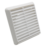 Kair Louvred Grille 100mm - 4 inch White External Wall Ducting Air Vent with Round Sp...