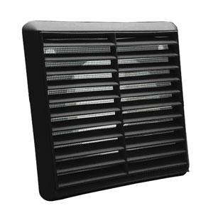 Kair Louvred Wall Vent Grille 150mm - 6 inch Black with Flyscreen for Internal or External use