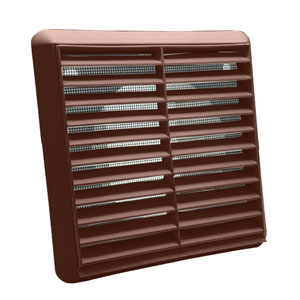 Kair Louvred Wall Vent 125mm - 5 inch Brown Grille with Flyscreen for Internal or External use