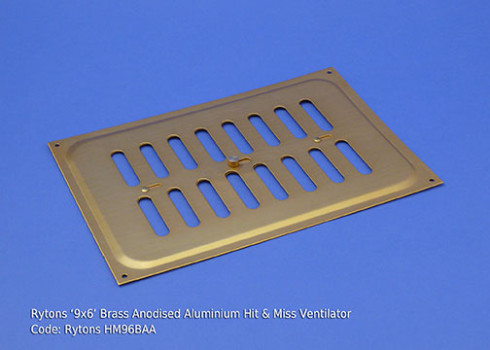 RYTONS 9X6 BRASS ANODISED ALUMINIUM HIT & MISS VENT GRILLE