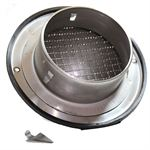 100mm Bull-Nose Vent With Wire Grille Stainless Steel Ducting Vent / Grille