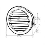 Kair Circular Vent 125mm - 5 inch White with Fly Screen - Round Wall Grille