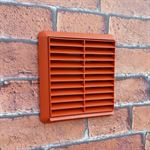 LOUVRED GRILL 110MM X 54MM RECTANGULAR SPIGOT - TERRACOTTA