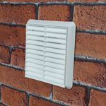 Louvred Grill 110mm X 54mm Rectangular Spigot - White