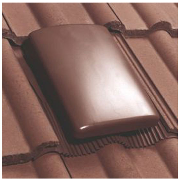 Pitched Roof Tile Slate Vent Brown   With 150mm To 100mm Ducting ...