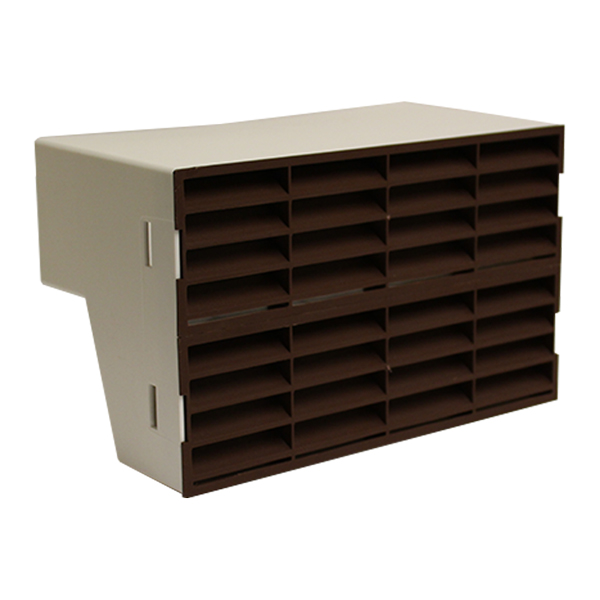 System 204 Double Airbrick Adapter With Brown Fitted Grilles