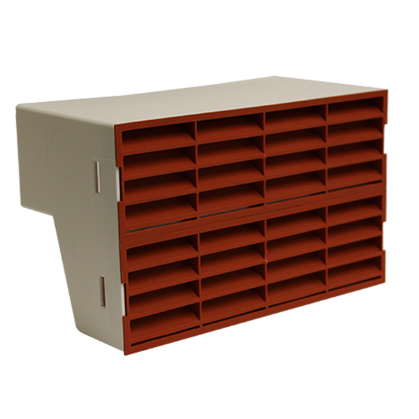 System 204 Double Airbrick Adapter With Terracotta Fitted Grilles
