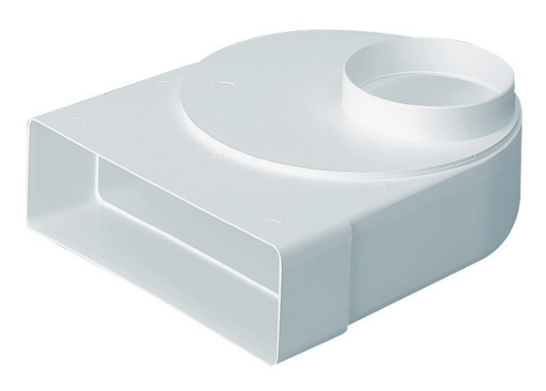 Domus Rigid Duct 204X60-100mm Plenum Offset Rotating Spigot White