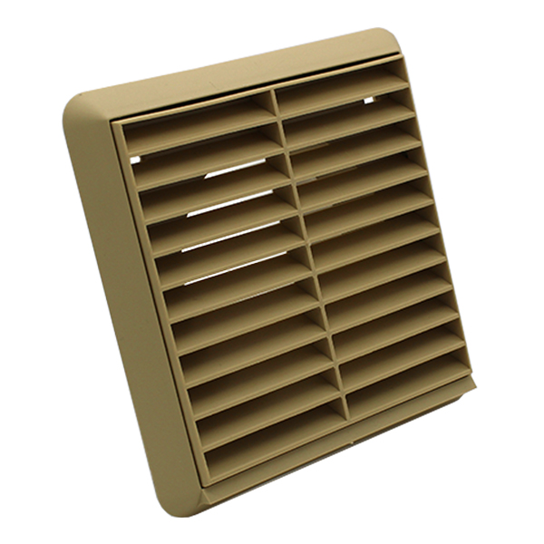 Kair Louvred Grille 100mm - 4 inch Beige External Wall Ducting Air Vent with Rou...