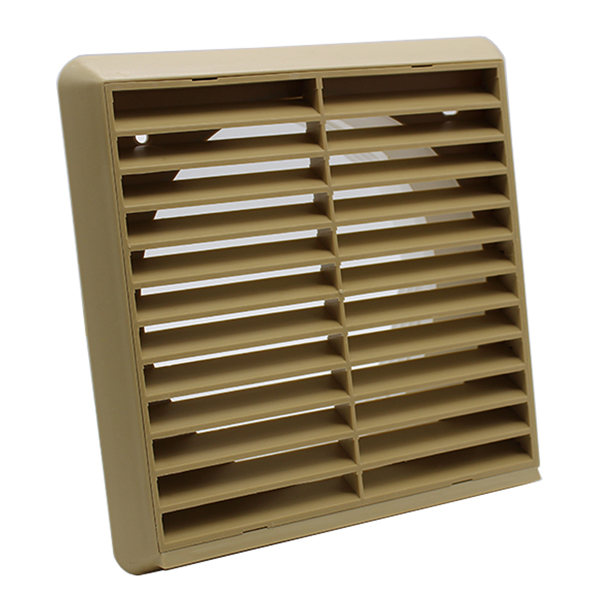 Kair Louvred Grille 150mm - 6 inch Beige External Wall Ducting Air Vent with Rou...