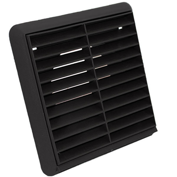Kair Louvred Grille 100mm - 4 inch Black External Wall Ducting Air Vent with Rou...