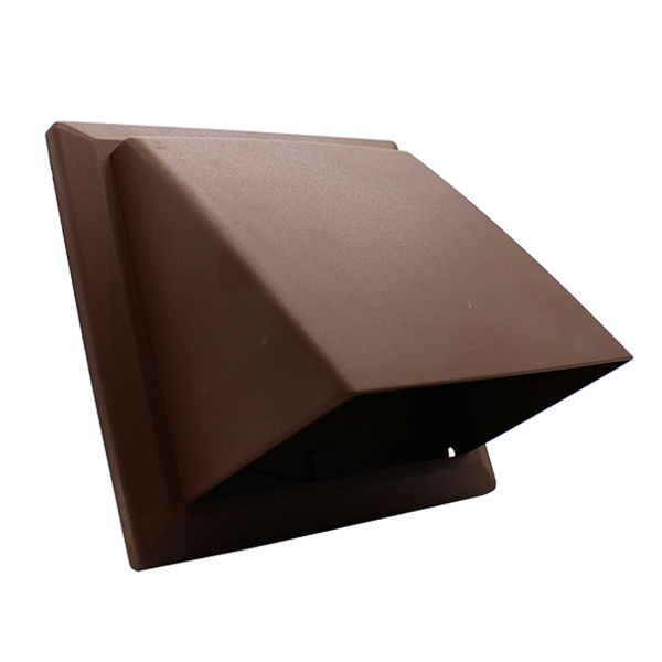 Kair Cowled Outlet Grille 150mm - 6 inch Brown External Wall Vent With Round Spi...