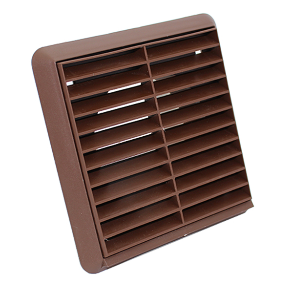 Kair Louvred Grille 100mm - 4 inch Brown External Wall Ducting Air Vent with Rou...