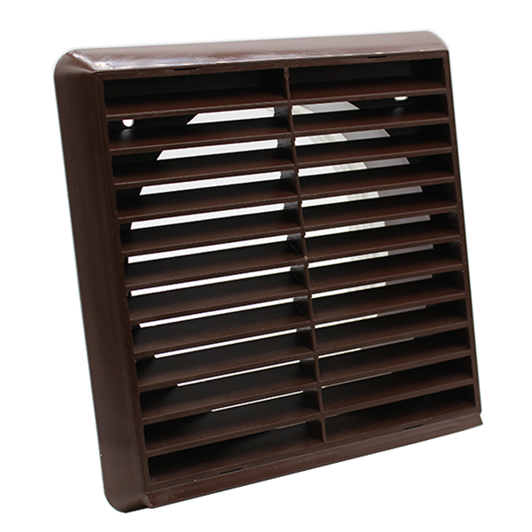 Kair Louvred Grille 150mm - 6 inch Brown External Wall Ducting Air Vent with Rou...