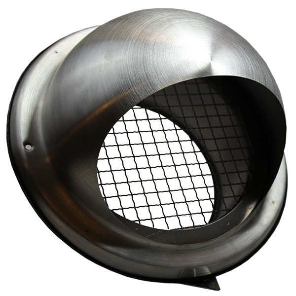 200mm Bull-Nose Vent With Wire Grille Stainless Steel Ducting Vent / Grille