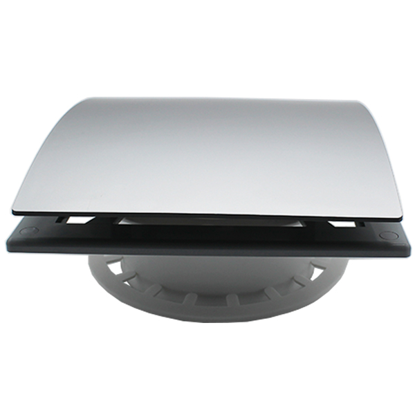 Domus 125mm Architectural Room Terminal Curved Silver