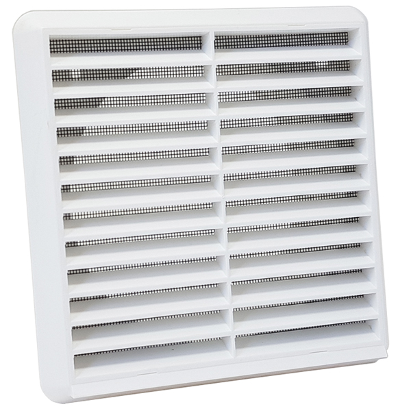 Kair Louvred Wall Vent Grille 150mm 6 inch White with Flyscreen for Internal or ...