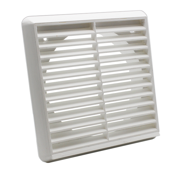 Kair Louvred Grille 150mm - 6 inch White External Wall Ducting Air Vent with Rou...