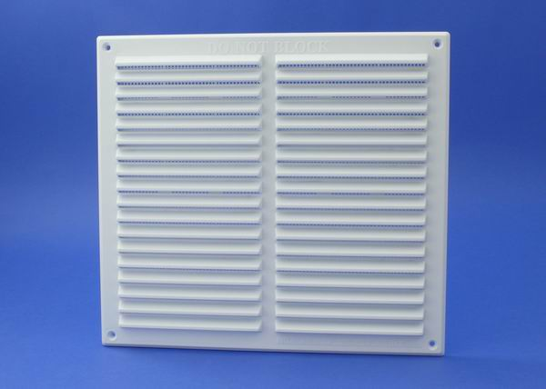 9X9 LOUVRE VENT GRILLE FLAME RETARDANT WITH FLYSCREEN -WHITE