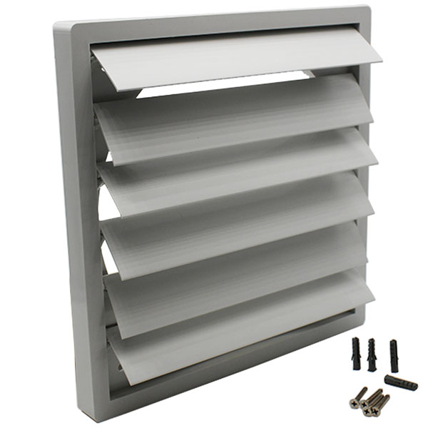 Large Gravity Grille - Grey Plastic - 200mm Dia - Plate Size 243x243mm