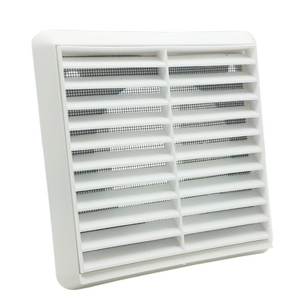 Kair Louvred Wall Vent Grille 100mm - 4 inch White with Flyscreen for Internal o...