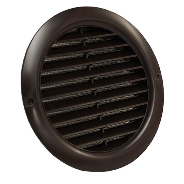 Kair Circular Vent 125mm - 5 inch Brown with Fly Screen - Round Wall Grille
