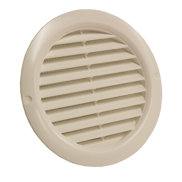 Kair Round Vent Cover 125mm - 5 inch White with Fly Screen - Round Wall Grille
