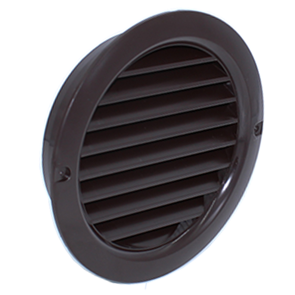 Kair Circular Vent 100mm - 4 inch Brown with Fly Screen - Round Wall Grille