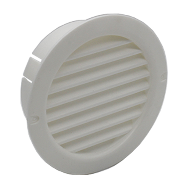 Kair Circular Vent 100mm - 4 inch White with Fly Screen - Round Wall Grille