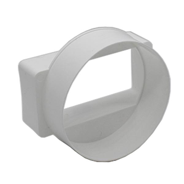 Kair Ducting Straight Adaptor 110mm x 54mm to 100mm - 4 inch Rectangular to Roun...