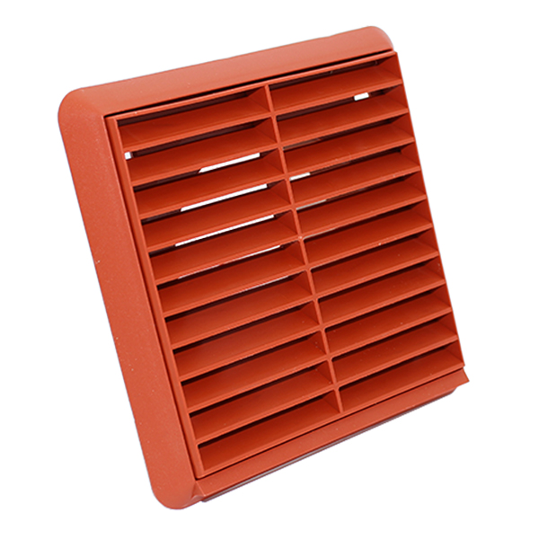 Kair 125mm Louvred Grill With Flyscreen - Terracotta