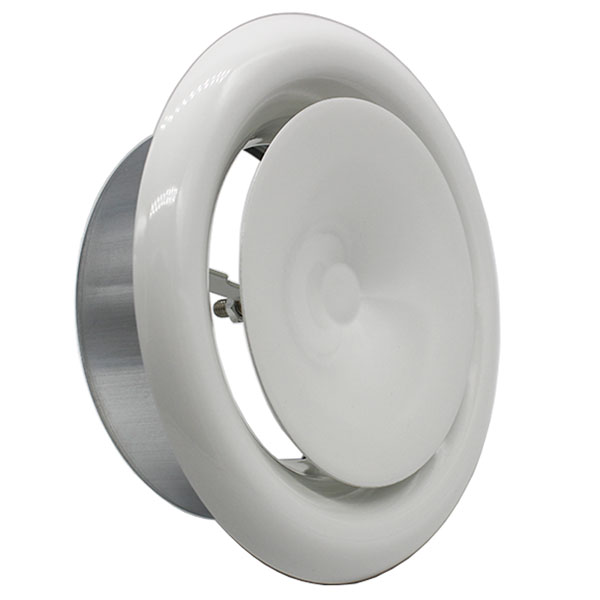 100mm Fire Rated Ceiling Supply Valve - 4 inch White Coated Metal Vent