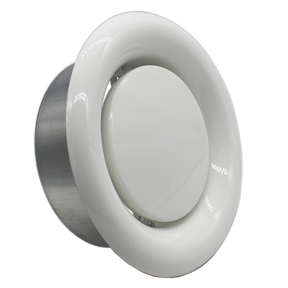 150mm Fire Rated Ceiling Extract Valve - 6 inch White Coated Metal Vent