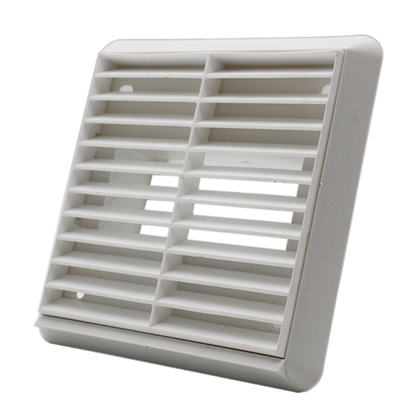 Louvred Grille 110mm X 54mm Rectangular Spigot - White