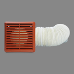 Flexible Duct Kit 150mm 3M Duct, Grille - Terracotta