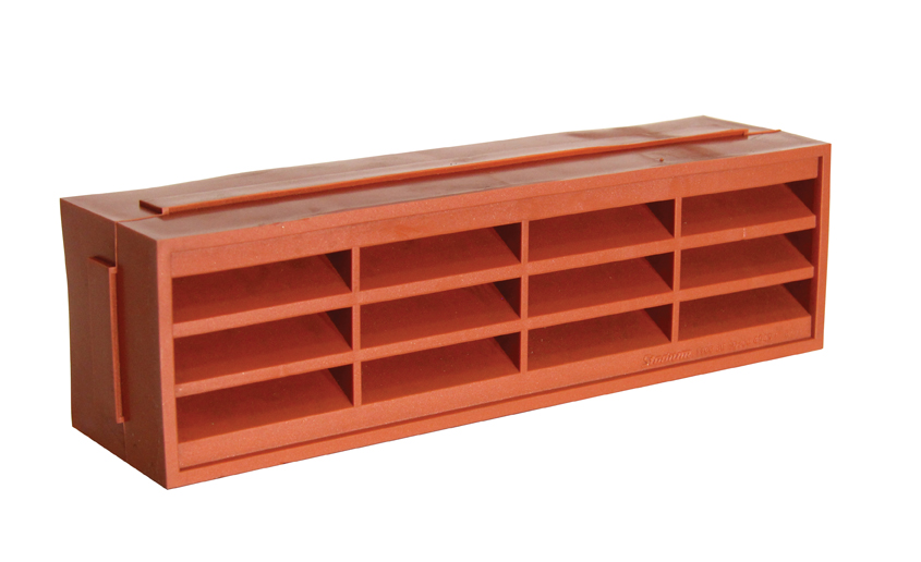 SINGLE AIR BRICK - LOUVRED - TEXTURED FINISH - TERRACOTTA