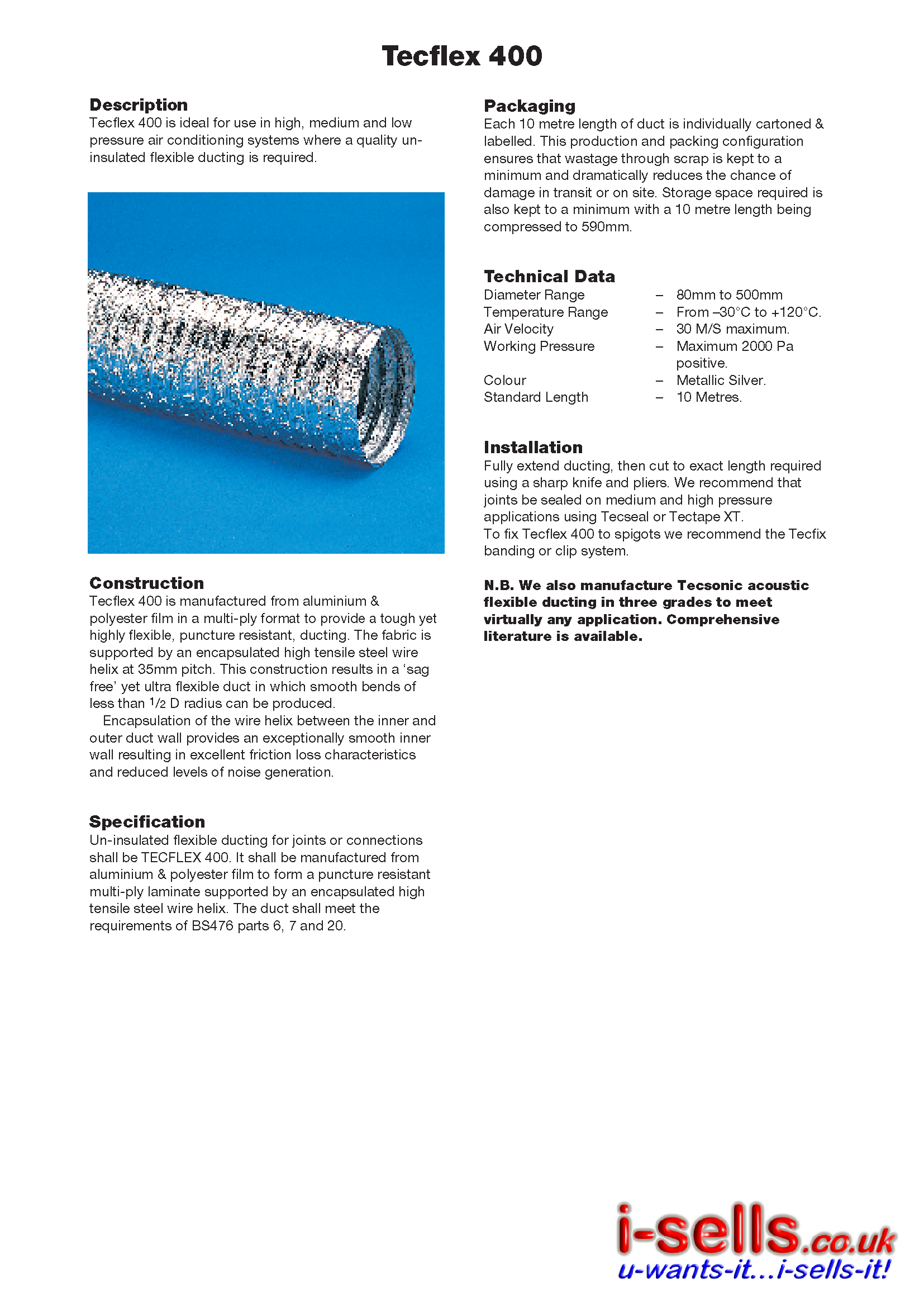 ALUMINIUM FLEXIBLE DUCTING - 10M  - 125MM