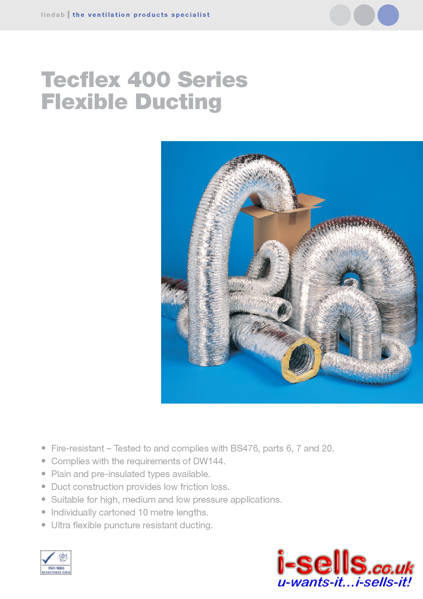 INSULATED ALUMINIUM FLEXIBLE DUCTING - 10M - 150MM