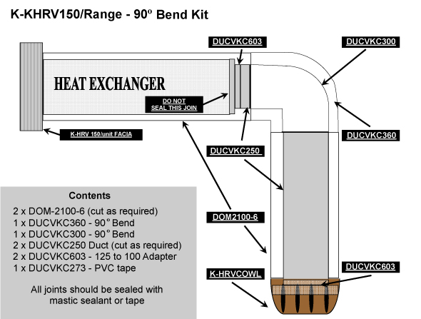 K-HRV150 RANGE 90 DEGREE BEND DUCTING KIT - AUTHORISED INSTALLERS ONLY