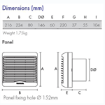 Vent Axia 140 Kitchen Fan With Humidistat