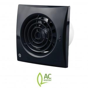 100mm Blauberg Calm Low Noise Energy Efficient Bathroom Extractor Fan Black - Humidit...
