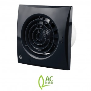 100mm Blauberg Calm Low Noise Energy Efficient Bathroom Extractor Fan Black - Pull Cord and Timer