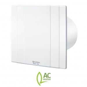 100mm Blauberg Quatro High Tech Designer Bathoom Extractor Fan White - Pull Cord