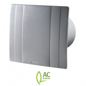 100mm Blauberg Quatro High Tech Designer Bathroom Extractor Fan Brushed Metal - Run O...