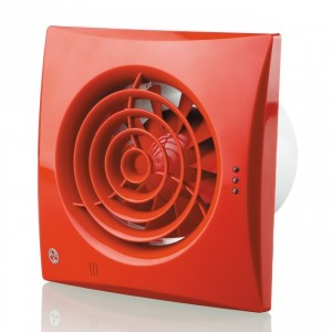 100mm Blauberg Calm Low Noise Energy Efficient Bathroom Extractor Fan Red - Pull Cord & Timer