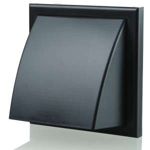Blauberg Plastic Cowled Hooded Air Ventilation Wind Baffle Wall Grille - 100mm - Blac...