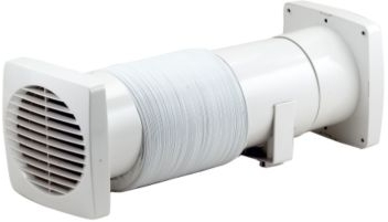 "GREENWOOD INLINE SHOWER FAN KIT WITH TIMER - 115MM (5"") - HIGH PERFORMANCE WITH SHUTTERS GRILLES AND 3M FLEXIBLE DUCTING"